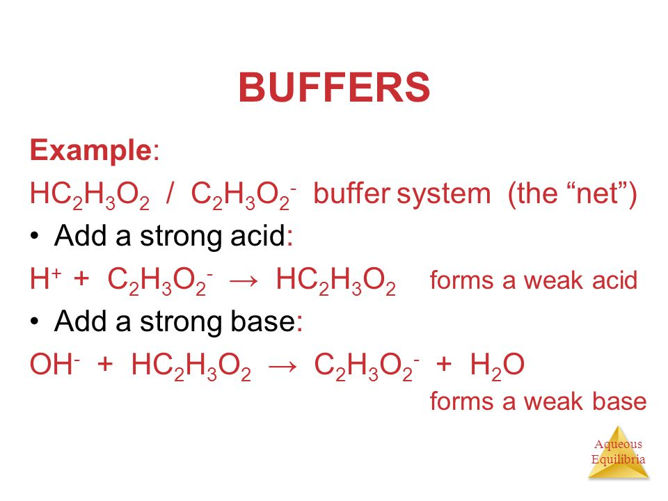 BUFFERS Example: HC2H3O2 / C2H3O2- buffer system (the net )