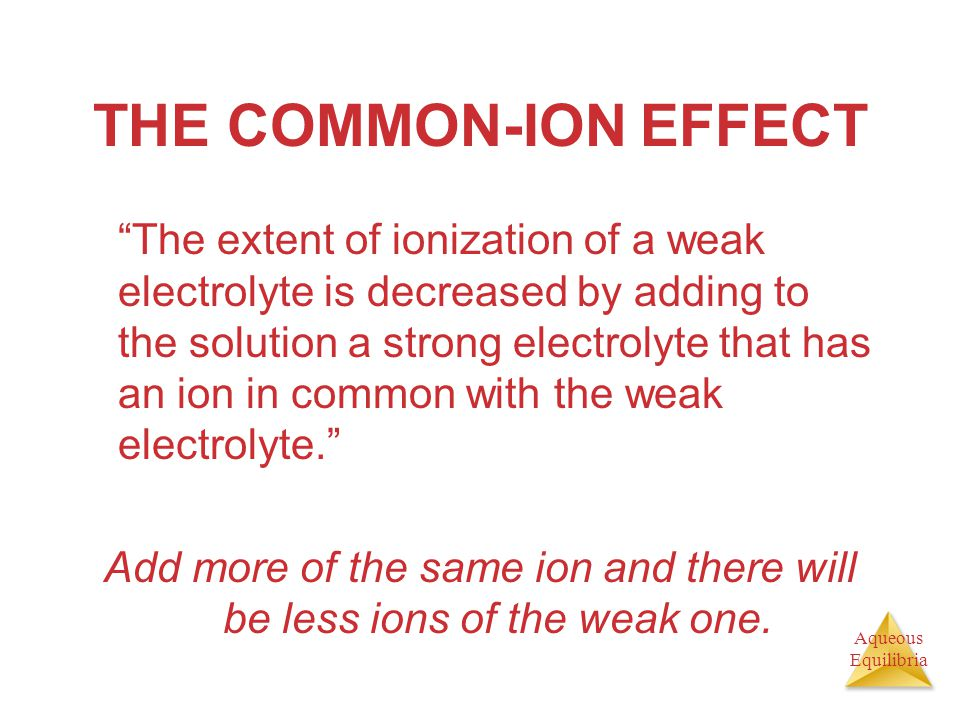 Add more of the same ion and there will be less ions of the weak one.