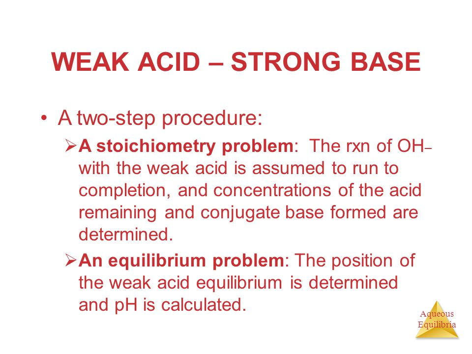 WEAK ACID – STRONG BASE A two-step procedure: