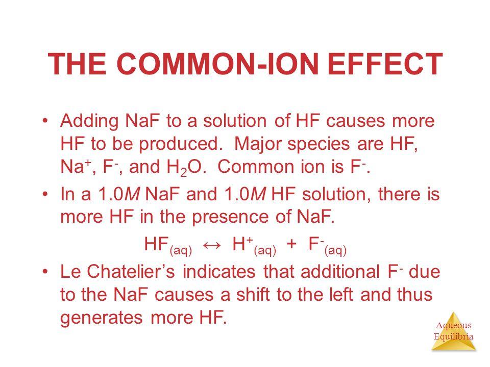HF(aq) ↔ H+(aq) + F-(aq)