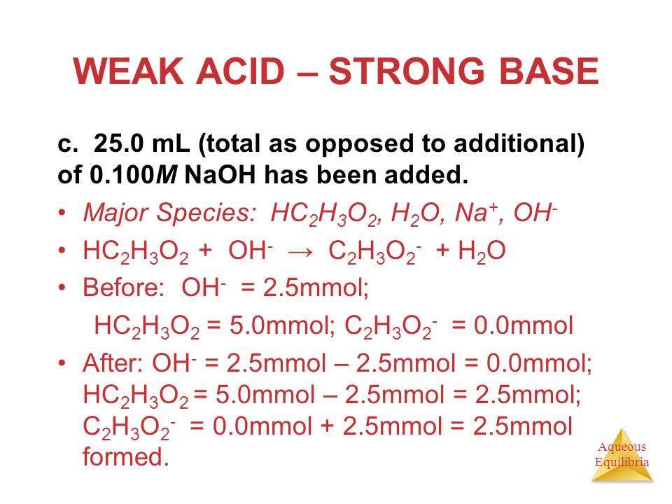 WEAK ACID – STRONG BASE c. 25.0 mL (total as opposed to additional) of 0.100M NaOH has been added.