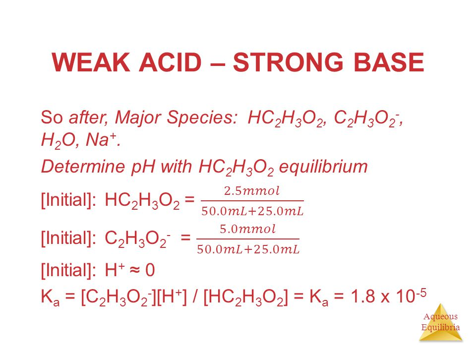 WEAK ACID – STRONG BASE So after, Major Species: HC2H3O2, C2H3O2-, H2O, Na+. Determine pH with HC2H3O2 equilibrium.