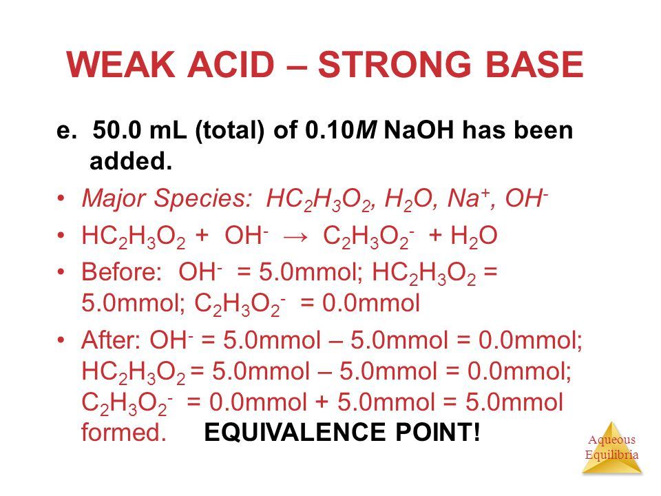 WEAK ACID – STRONG BASE e. 50.0 mL (total) of 0.10M NaOH has been added. Major Species: HC2H3O2, H2O, Na+, OH-