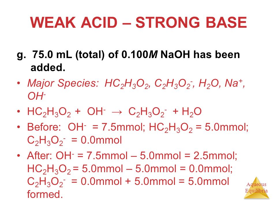 WEAK ACID – STRONG BASE g. 75.0 mL (total) of 0.100M NaOH has been added. Major Species: HC2H3O2, C2H3O2-, H2O, Na+, OH-