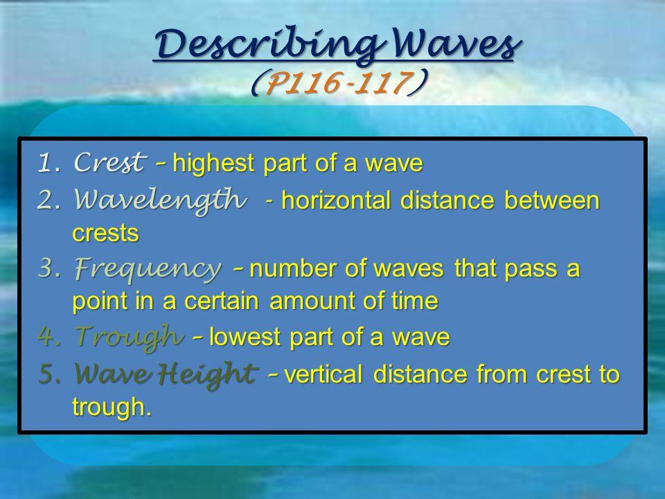 Describing Waves (P116-117) Crest – highest part of a wave