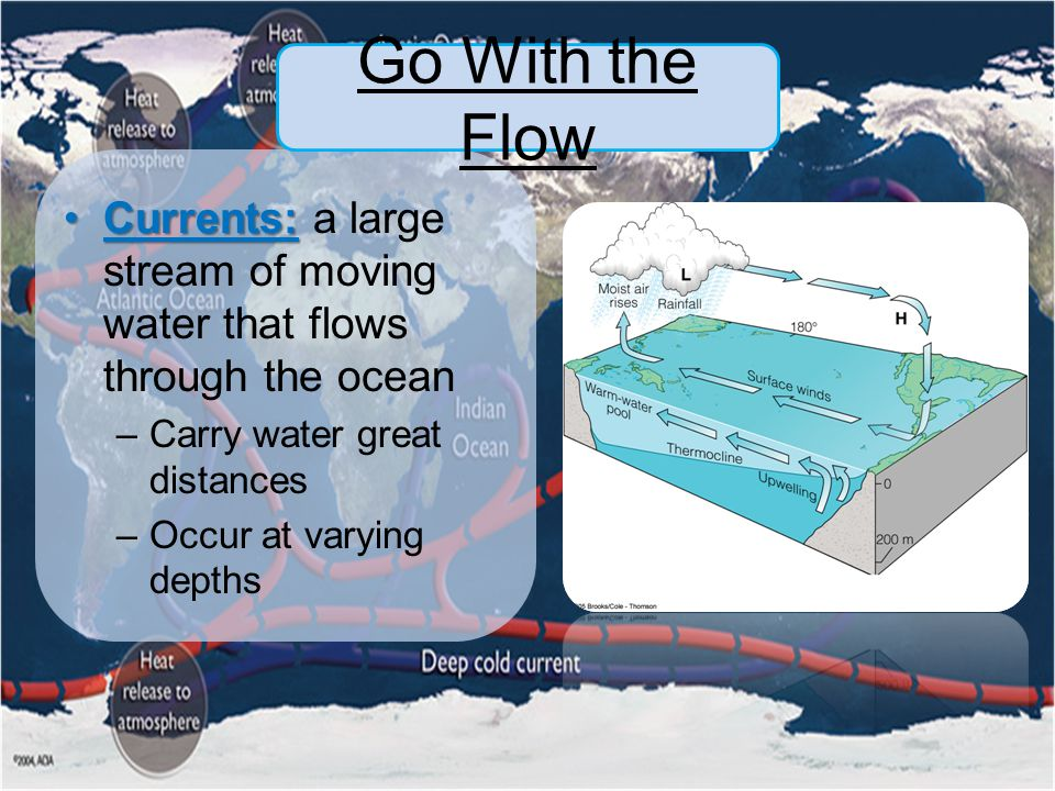 Go With the Flow Currents: a large stream of moving water that flows through the ocean. Carry water great distances.
