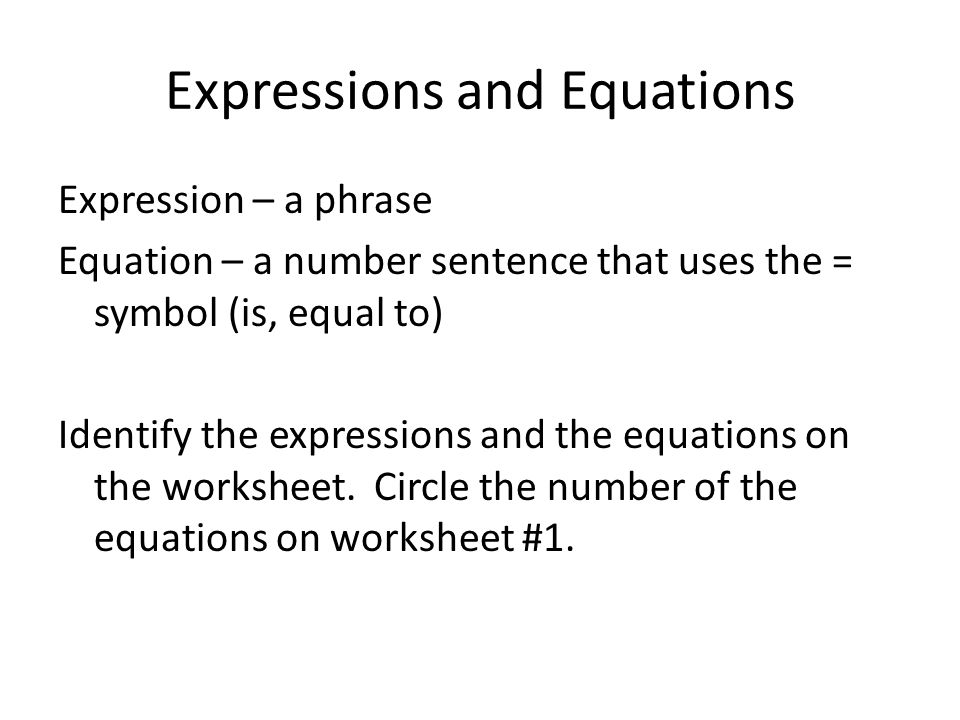 Expressions and Equations ppt download – Expressions and Equations Worksheet