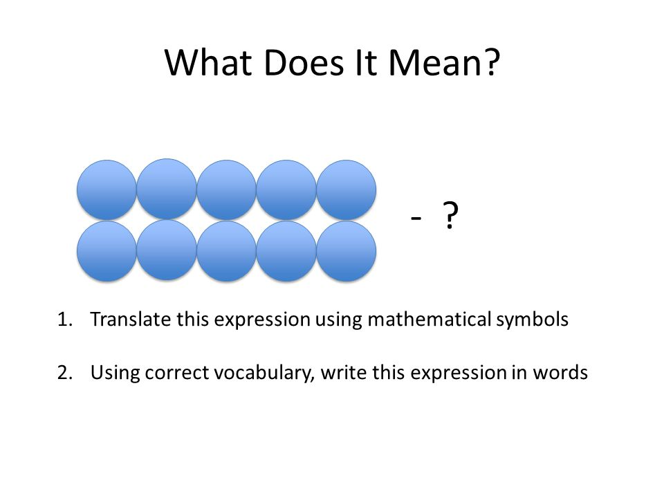 What Does It Mean. - . Translate this expression using mathematical symbols.