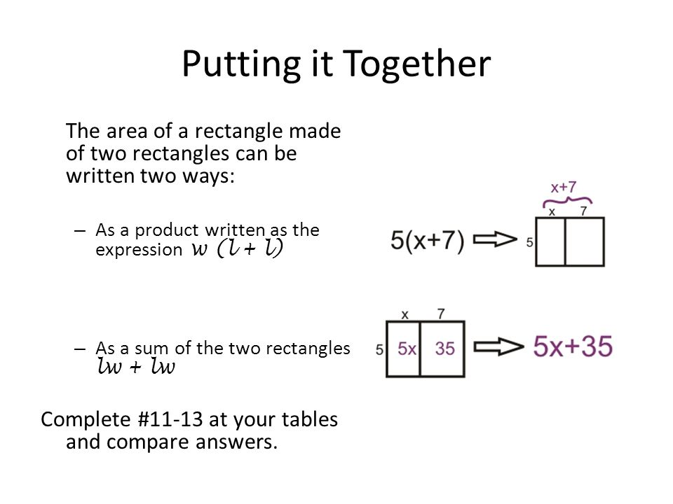 Putting it Together The area of a rectangle made of two rectangles can be written two ways: As a product written as the expression w (l + l)