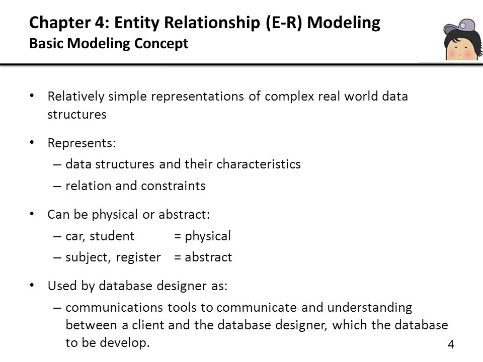 Chapter 4: Entity Relationship (E-R) Modeling Basic Modeling Concept