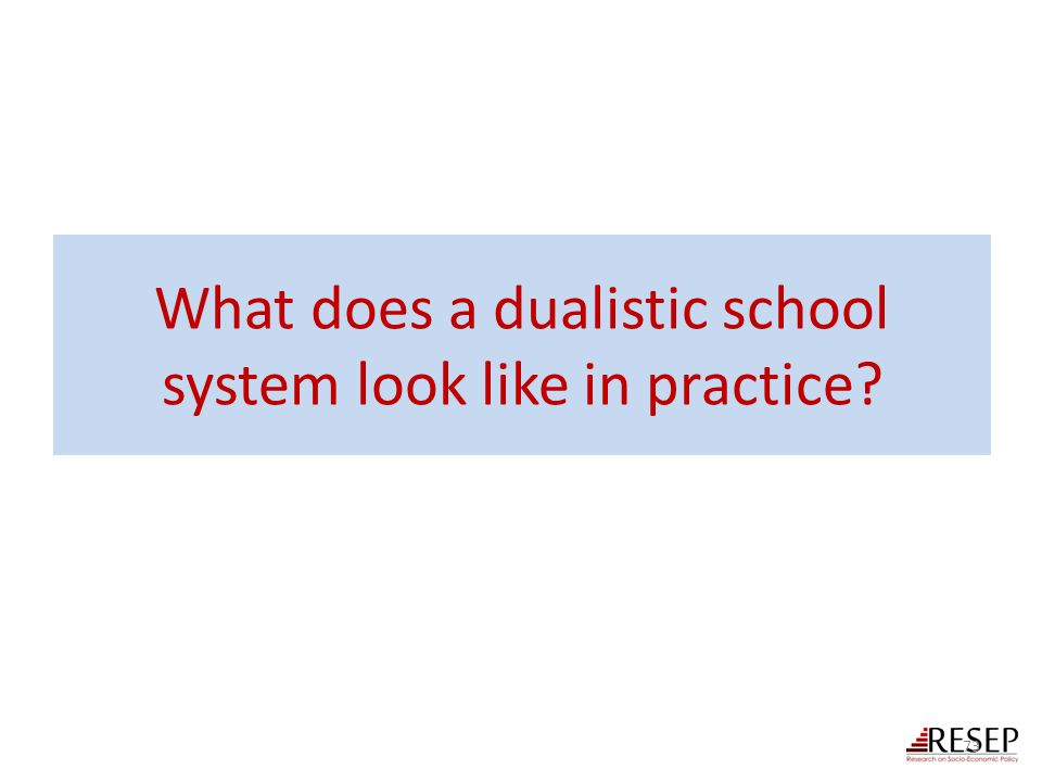 What does a dualistic school system look like in practice