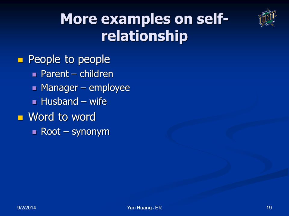More examples on self-relationship
