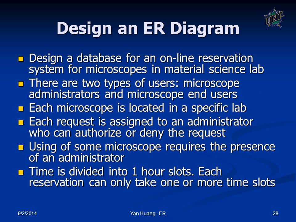 Design an ER Diagram Design a database for an on-line reservation system for microscopes in material science lab.