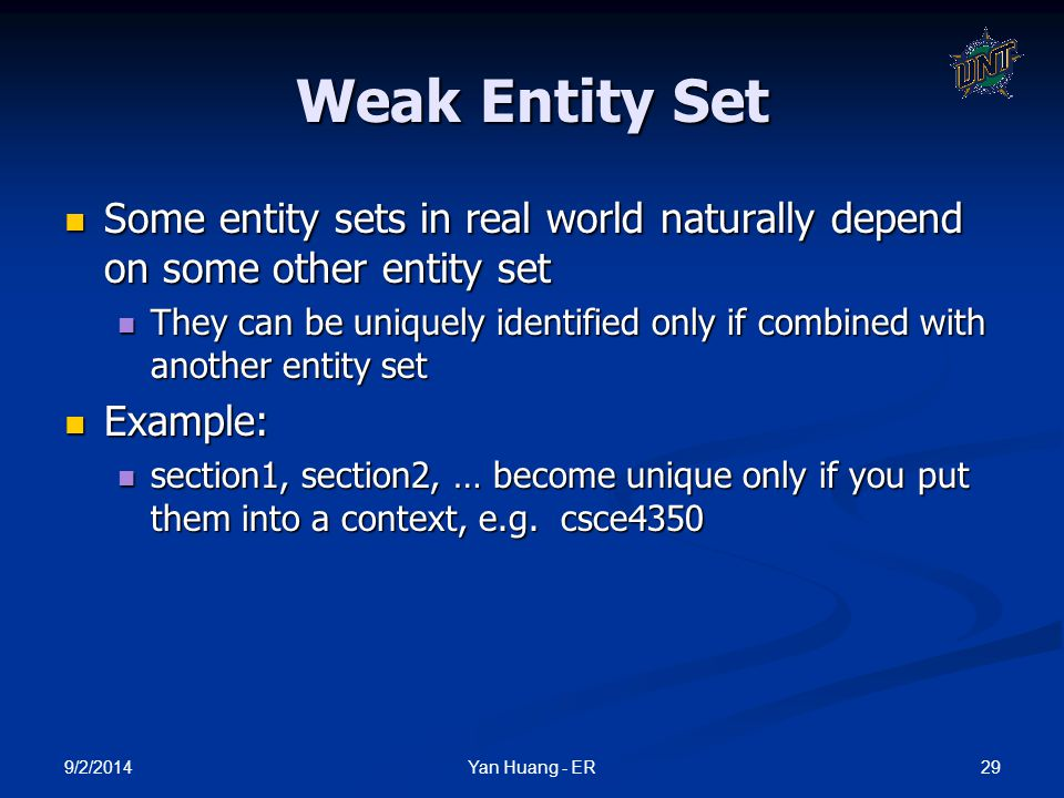 Weak Entity Set Some entity sets in real world naturally depend on some other entity set.