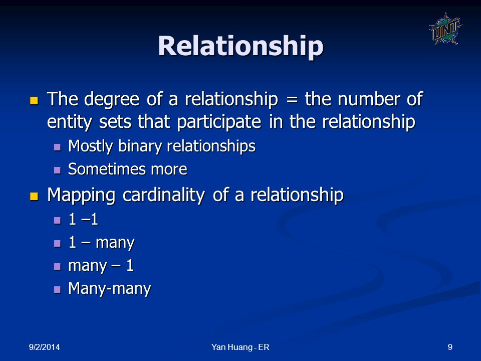 Relationship The degree of a relationship = the number of entity sets that participate in the relationship.