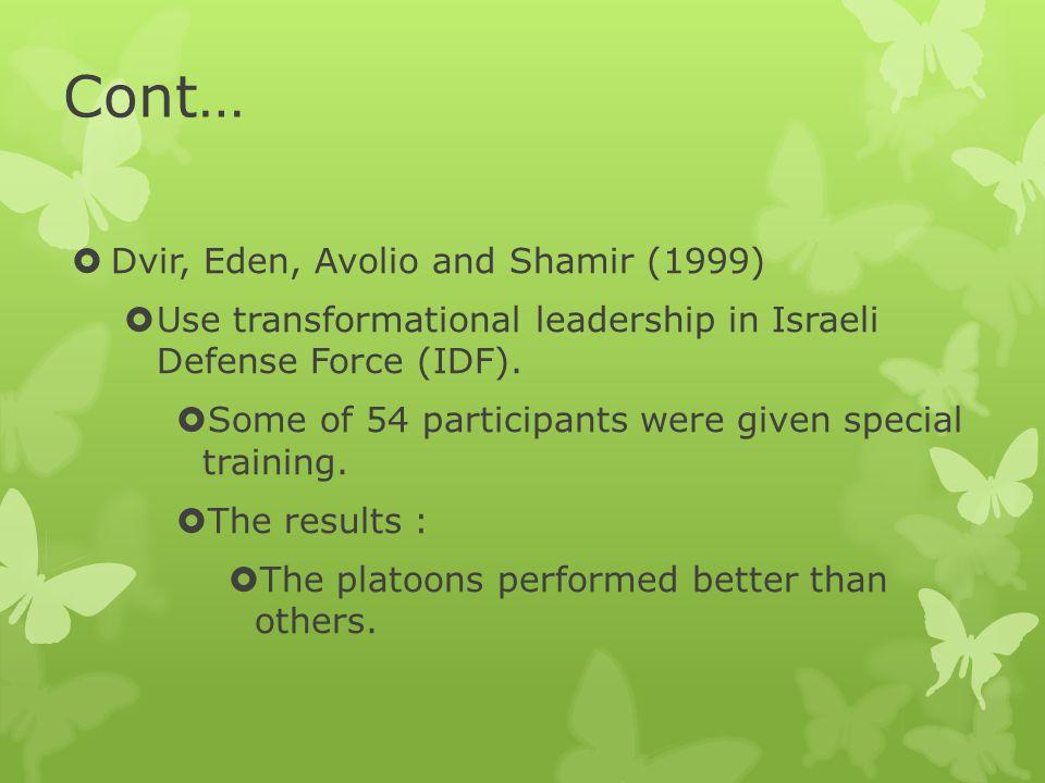 Cont… Dvir, Eden, Avolio and Shamir (1999)