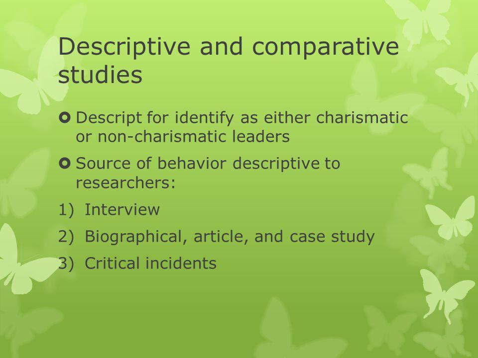 Descriptive and comparative studies