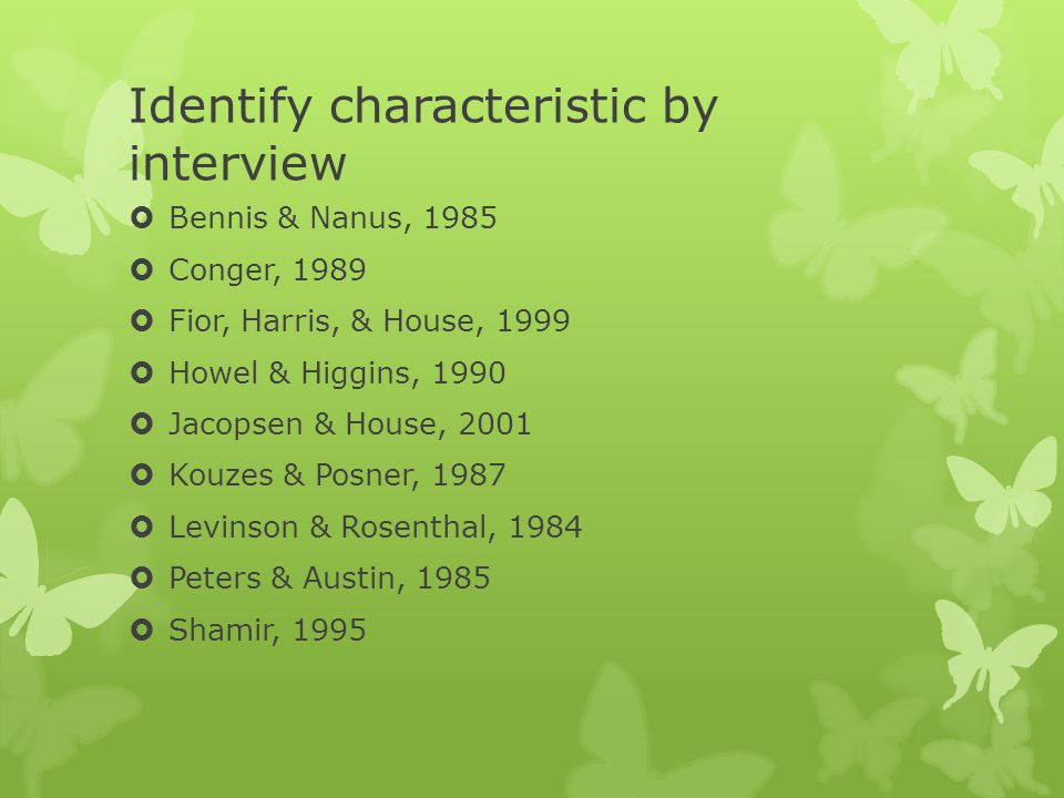 Identify characteristic by interview