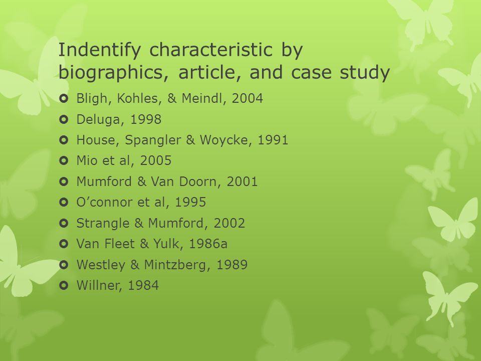 Indentify characteristic by biographics, article, and case study