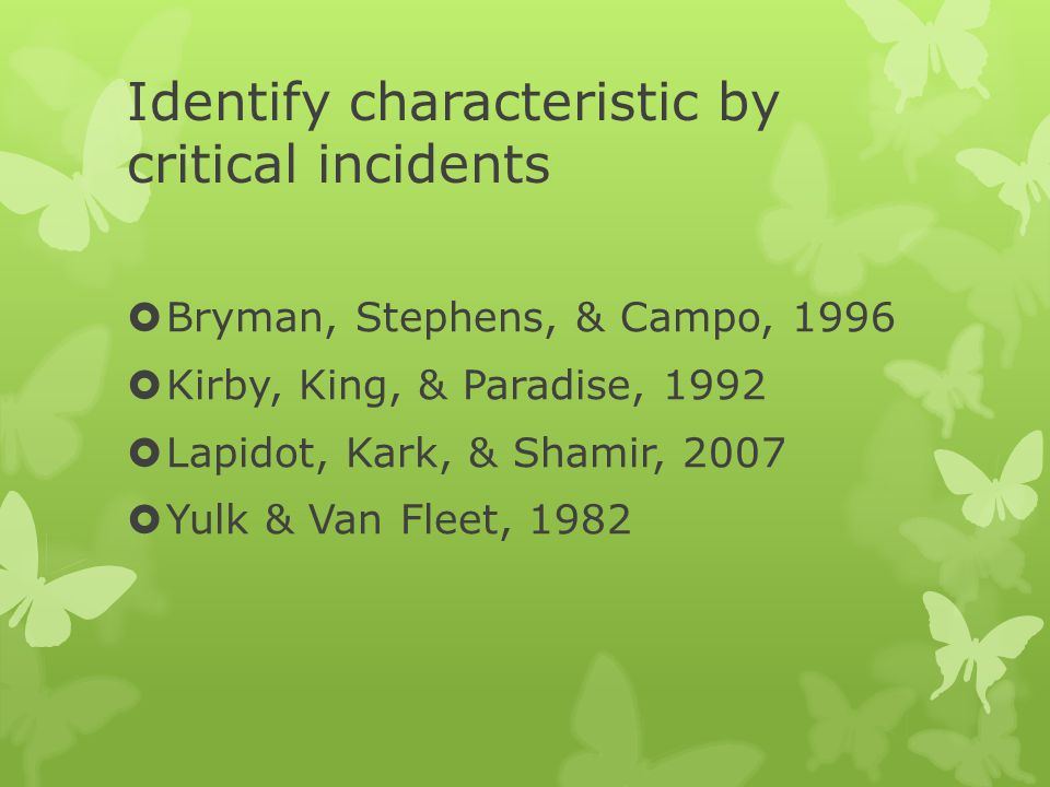 Identify characteristic by critical incidents