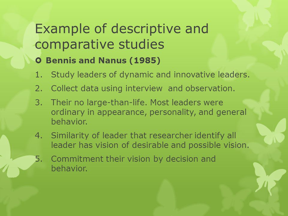 Example of descriptive and comparative studies