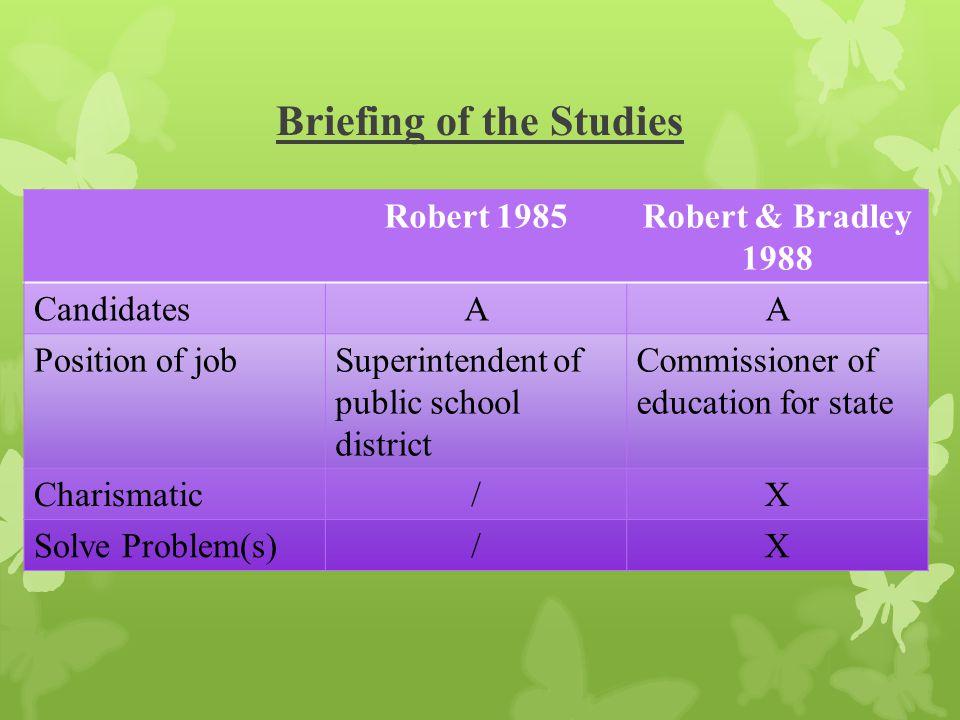 Briefing of the Studies