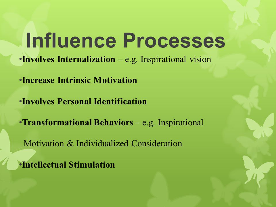 Influence Processes Involves Internalization – e.g. Inspirational vision. Increase Intrinsic Motivation.
