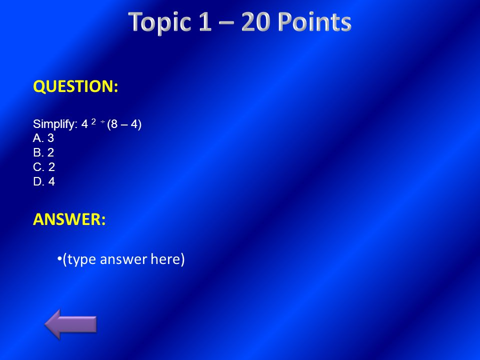 Topic 1 – 20 Points QUESTION: ANSWER: (type answer here)