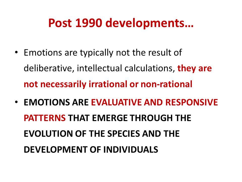 Post 1990 developments…