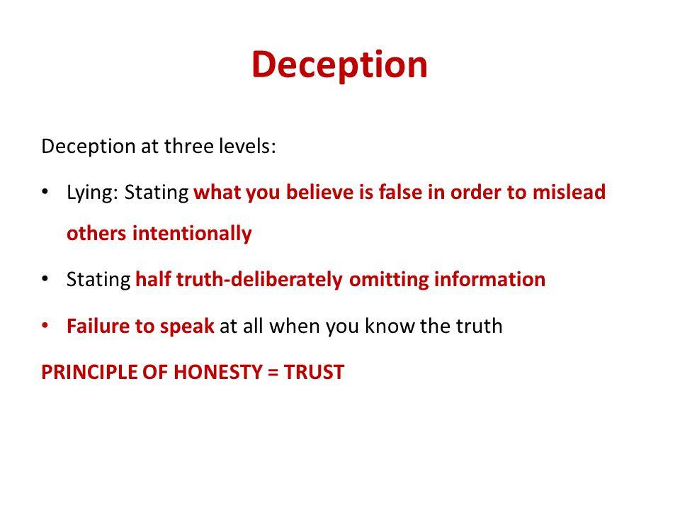 Deception Deception at three levels: