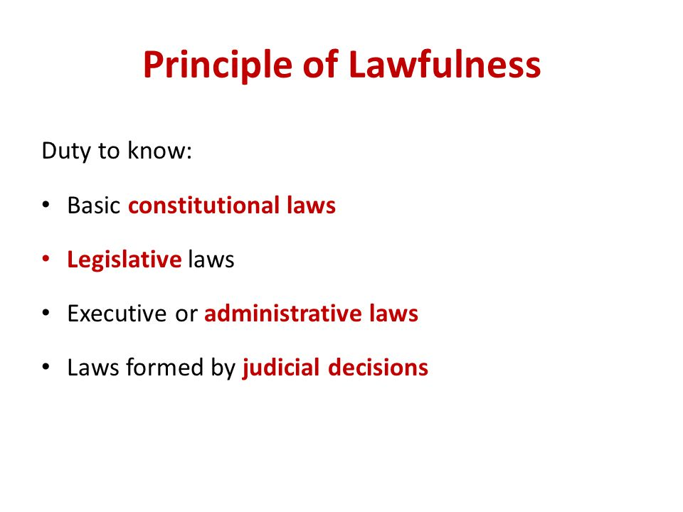 Principle of Lawfulness