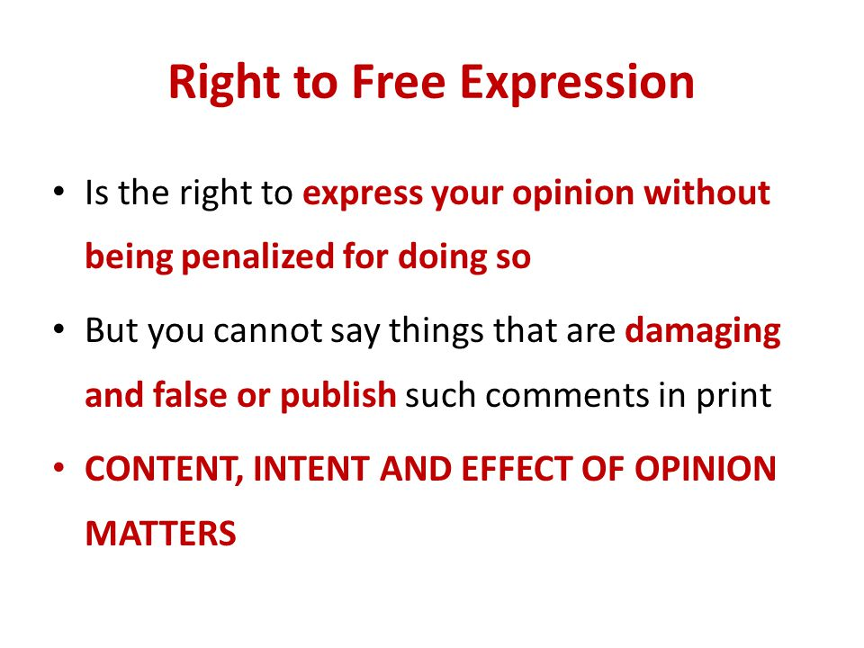 Right to Free Expression