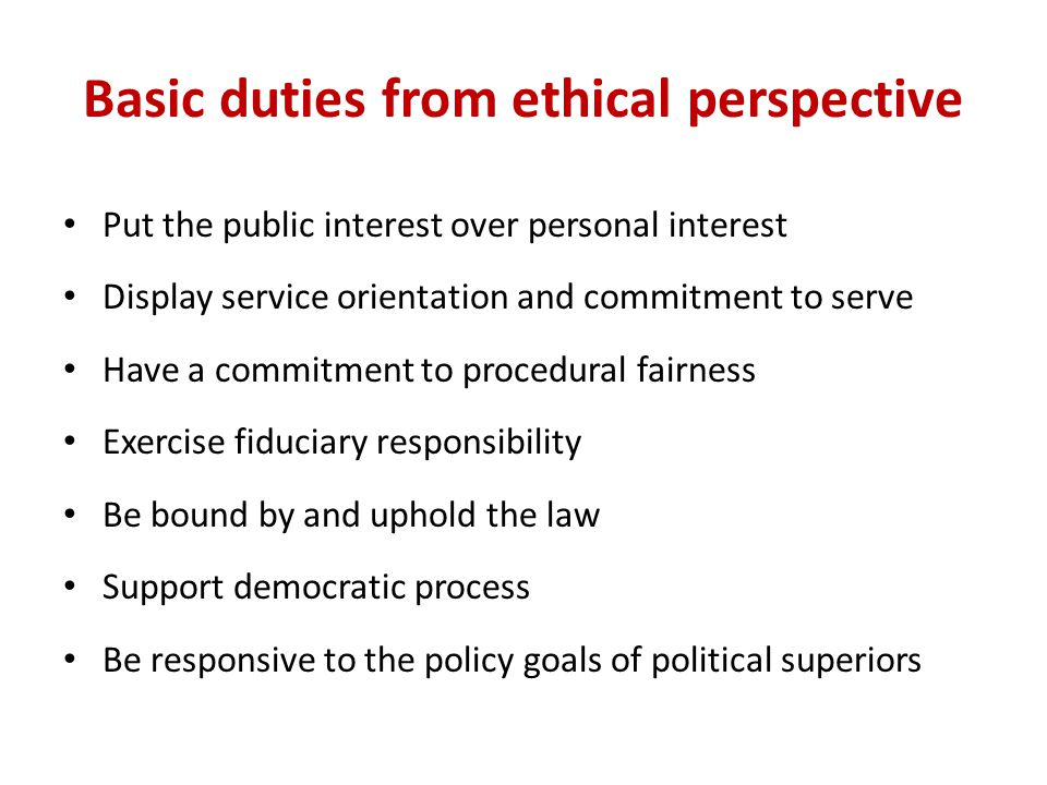 Basic duties from ethical perspective