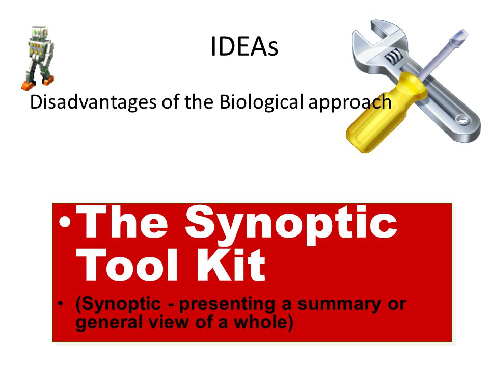 The Synoptic Tool Kit IDEAs Disadvantages of the Biological approach
