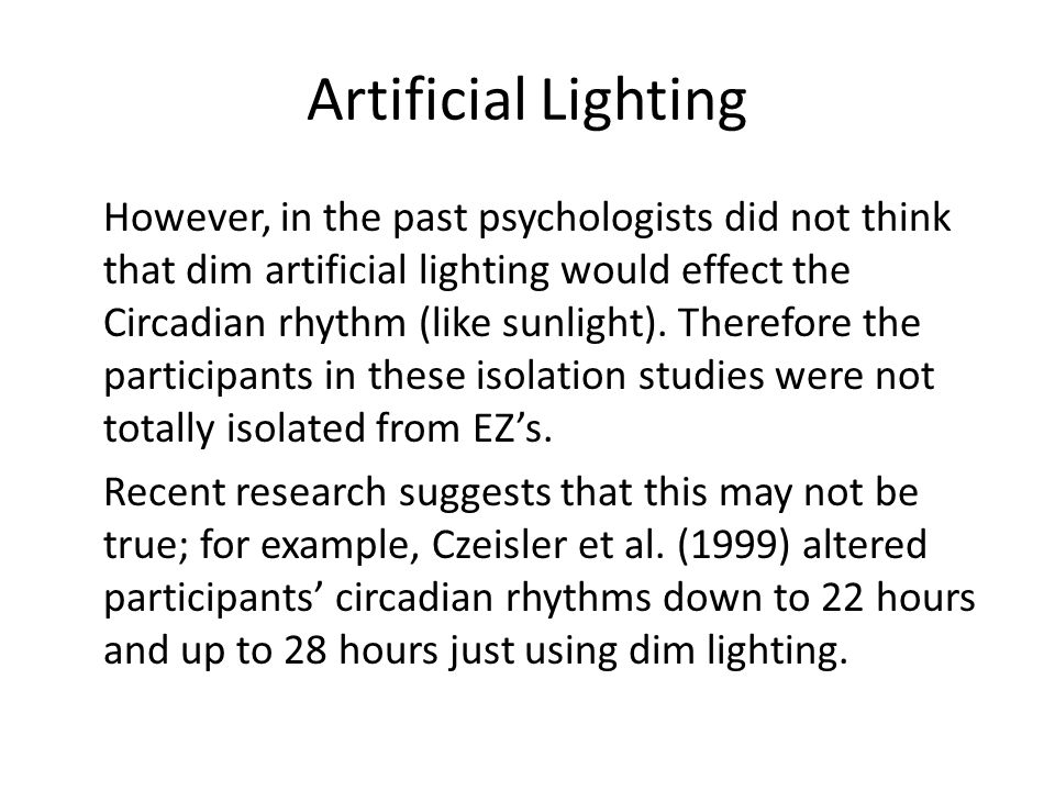 Artificial Lighting