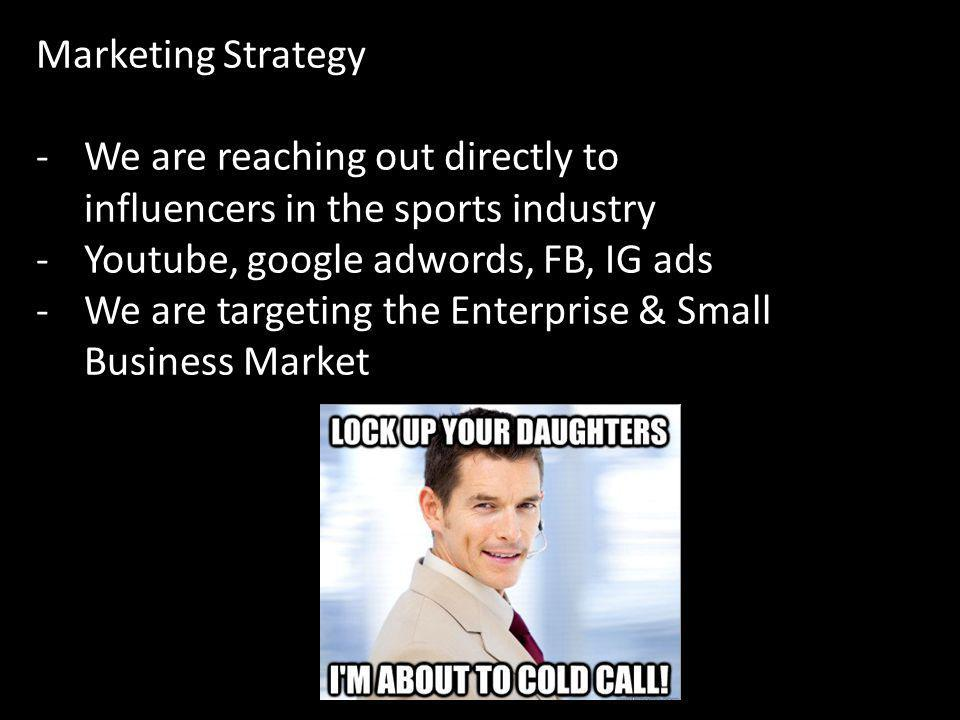 Marketing Strategy We are reaching out directly to influencers in the sports industry. Youtube, google adwords, FB, IG ads.
