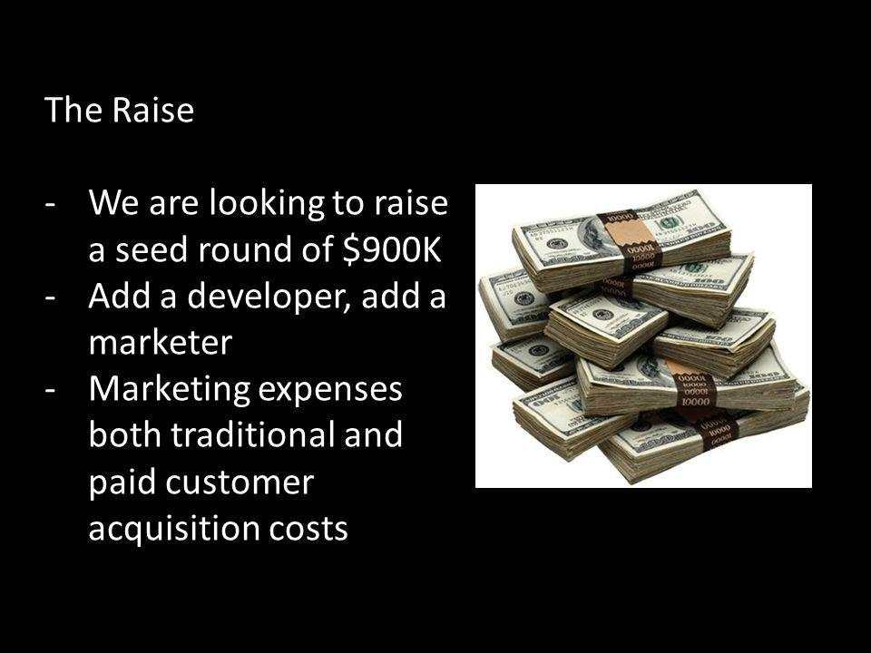 The Raise We are looking to raise a seed round of $900K. Add a developer, add a marketer.