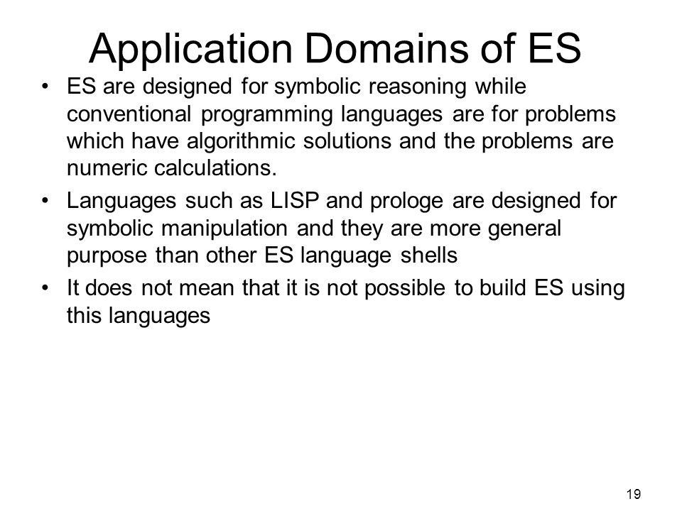 Application Domains of ES