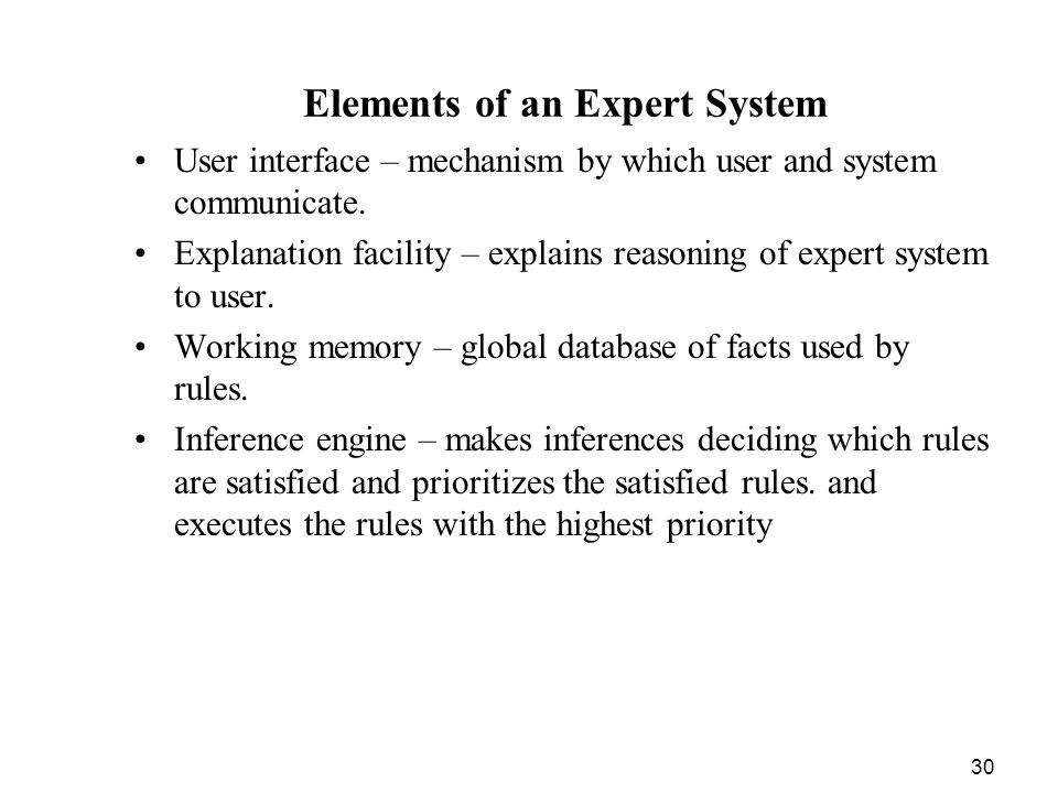 Elements of an Expert System