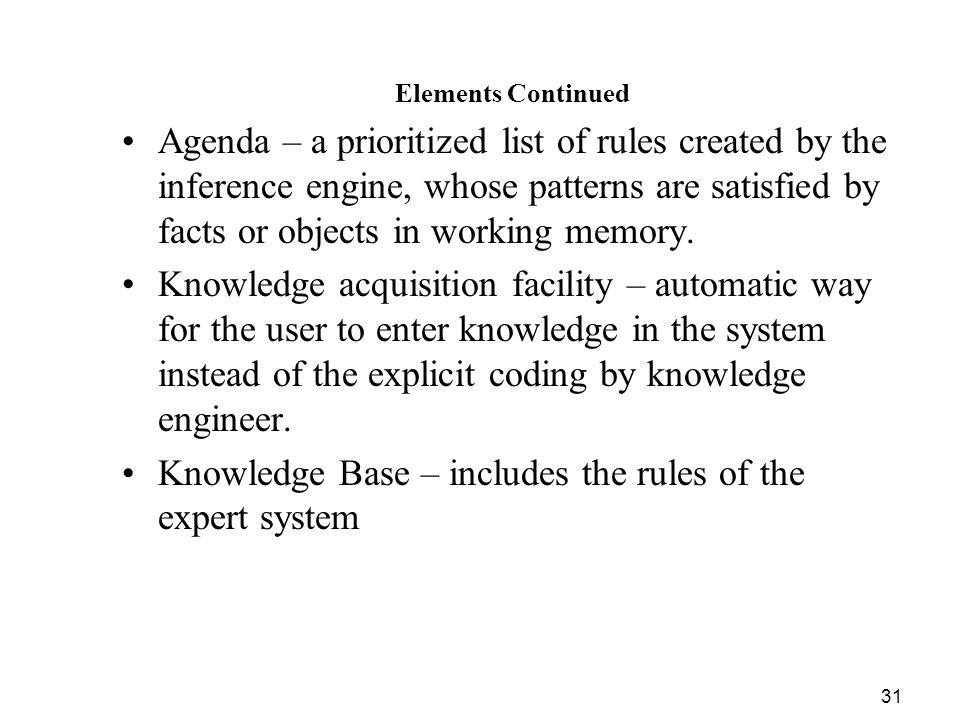 Knowledge Base – includes the rules of the expert system
