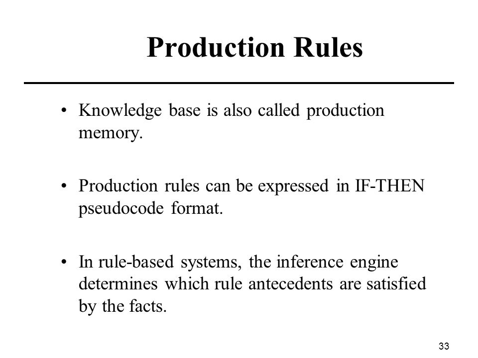 Production Rules Knowledge base is also called production memory.