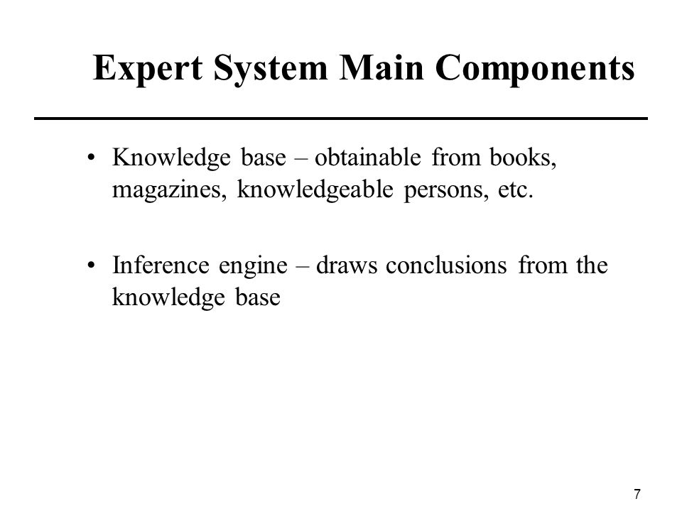 Expert System Main Components