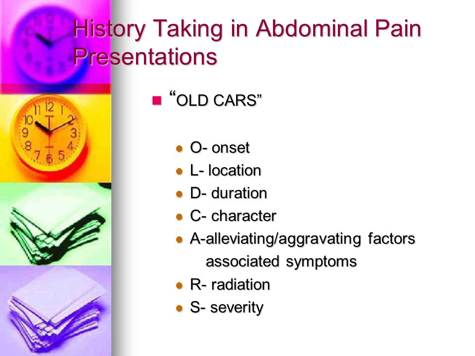 History Taking in Abdominal Pain Presentations