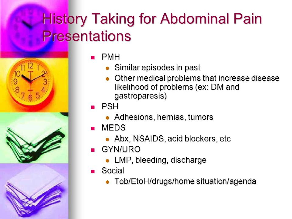 History Taking for Abdominal Pain Presentations