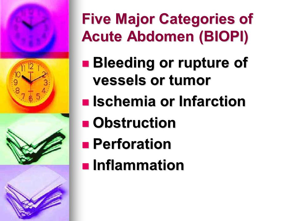 Five Major Categories of Acute Abdomen (BIOPI)