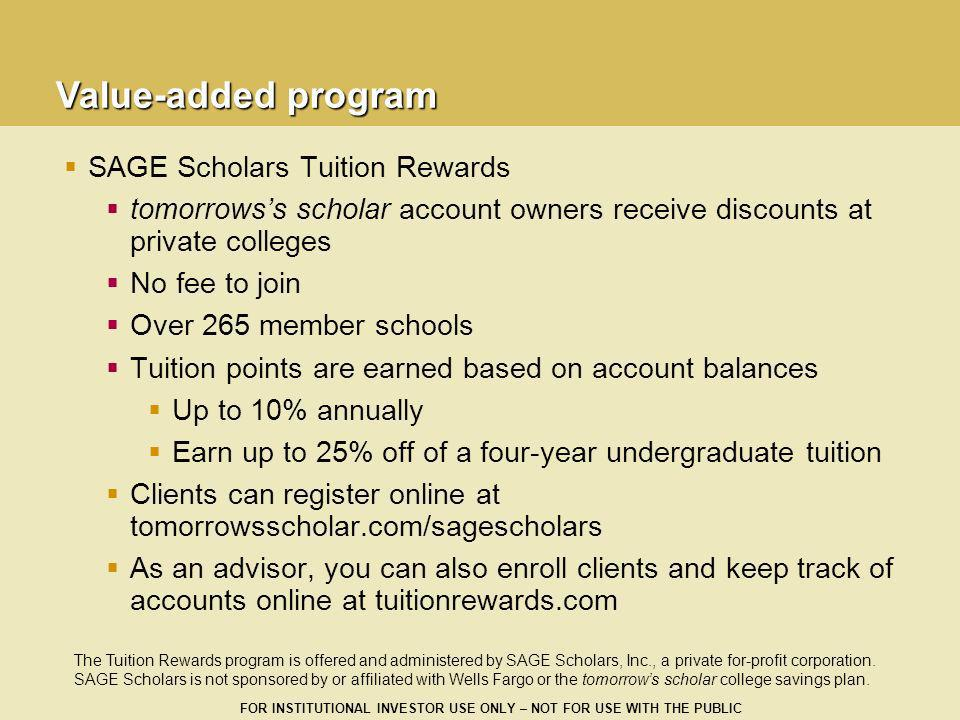 Value-added program SAGE Scholars Tuition Rewards