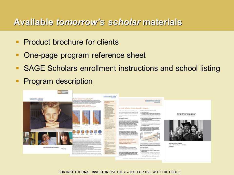 Available tomorrow's scholar materials