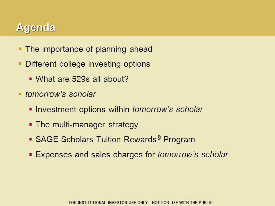 Agenda The importance of planning ahead