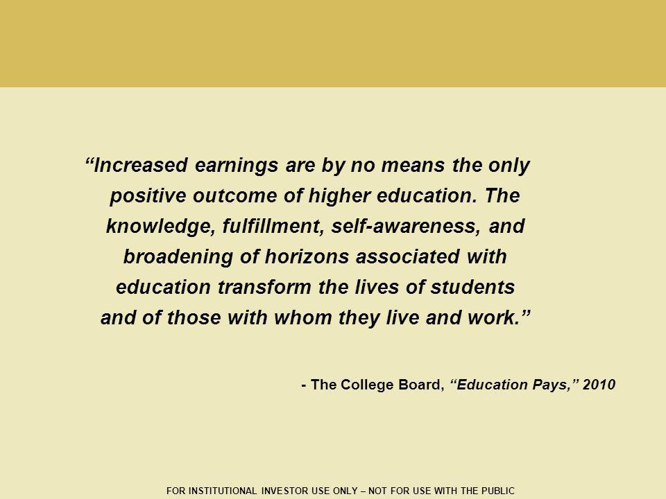 Increased earnings are by no means the only positive outcome of higher education. The knowledge, fulfillment, self-awareness, and broadening of horizons associated with education transform the lives of students and of those with whom they live and work.