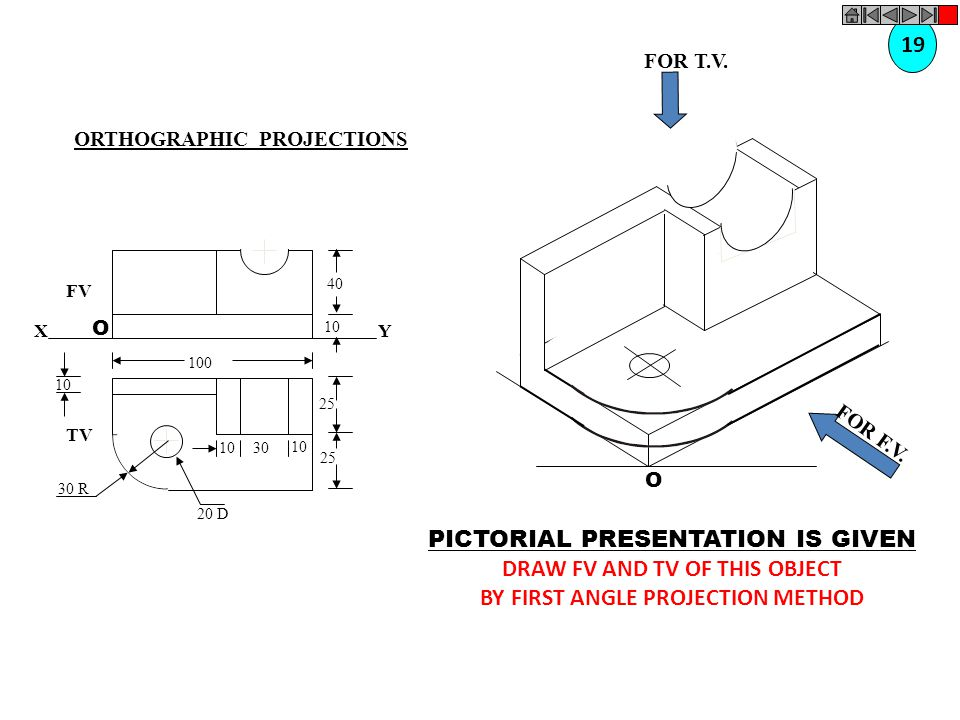 DRAW FV AND TV OF THIS OBJECT BY FIRST ANGLE PROJECTION METHOD
